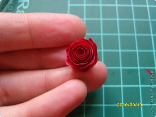 Квилинг червена роза - стъпка 11