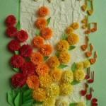 Пухкави цветя за картичка от квилинг
