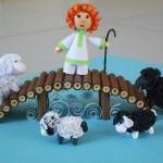 Фигурка на пастир и овце от квилинг